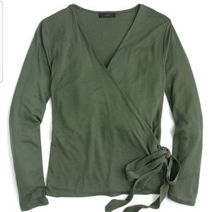 J. Crew Wrap and Tie Top Size M Olive Green NWT